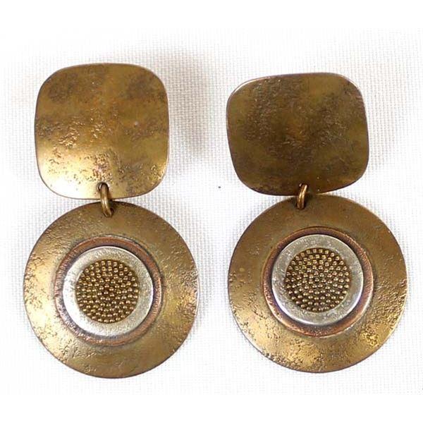 Artisan Crafted Brass Earrings by Marjorie Baer
