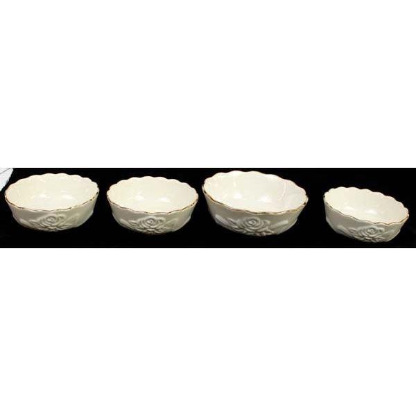 4 Lenox Cream Gold Rimmed Rose Bowls