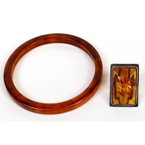 Sterling Amber Ring and Bangle Bracelet