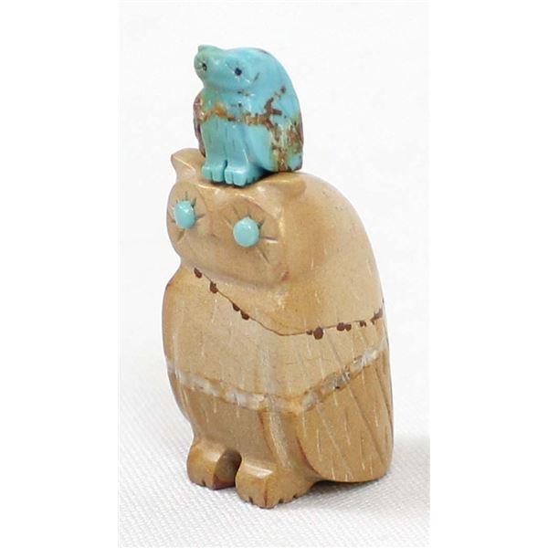 Zuni Mama Owl & Owlet Fetishes, Verla Lasiloo Jim