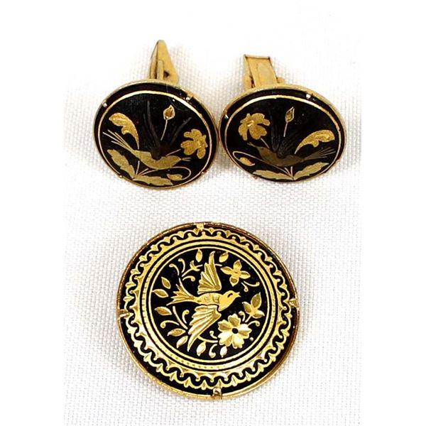 Spanish Goldtone Cufflinks and Pin