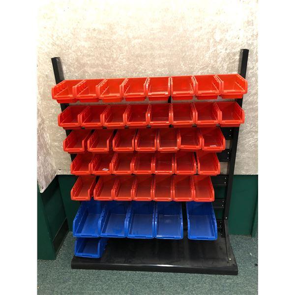 Parts organizer metal & plastic w/ 43 plastic bins