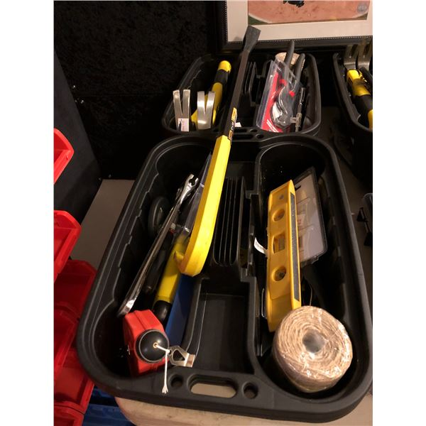 Two plastic storage containers w/ assortment of hand tools