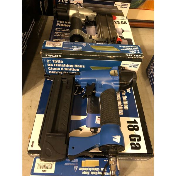 ROK set of 2in pin nailers & 2in brad nailer w/ 3 boxes of finishing nails