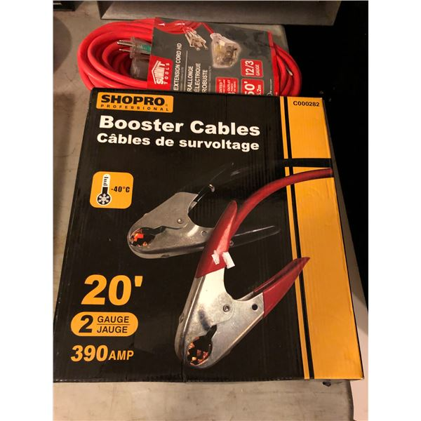 Shopro Professional booster cables 20ft 2 gauge 390AMP & Summit Tools lighted extension cord 50ft