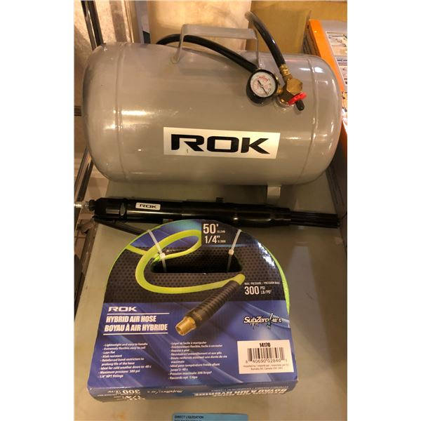 ROK compression pump up to 100 PSI w/ ROK hybrid air hose max 300PSI 50ft & 1/4in gauge