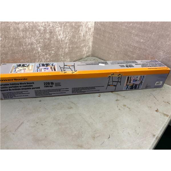 PowerSonic portable folding work bench - 220lb capacity
