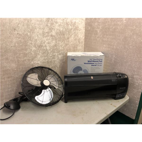 Set of 2 16in oscillating wall mount fans & one Honeywell industrial heater