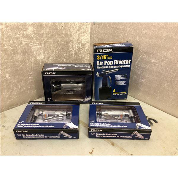Set of 4 ROK tools - 2 air angle die grinder 1/4in/ air cut off tool 3in & air pop riveter 3/16in
