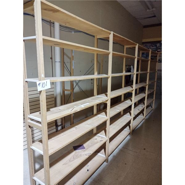 APPROX. 16 RUNNING FT LUNDIA SHELVING, 5 UPRIGHTS, 28 SHELVES