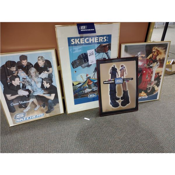4 PC SKETCHERS FRAMED ADVERTISING POSTERS LOT
