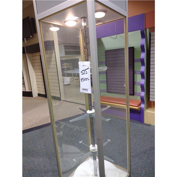 "GLASS ELECTRIC REVOLVING LIGHT UP FLOOR DISPLAY, 83""H X 22""W X 22""D"