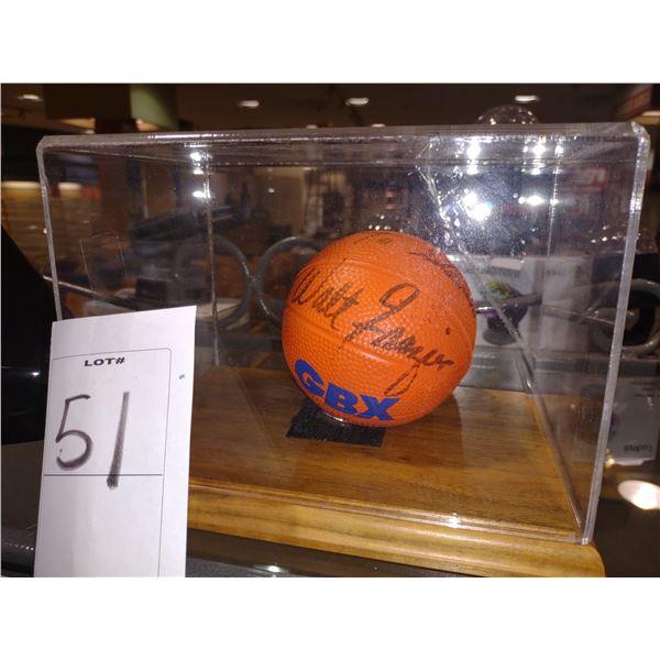 BASKETBALL LEGEND WALT FRAZIER SIGNED BASKETBALL IN DISPLAY CASE