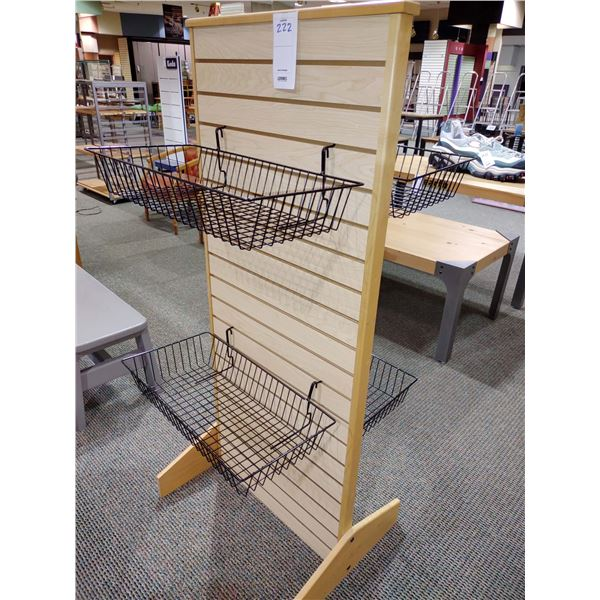 WOOD DISPLAY STAND WITH 4 METAL BASKETS