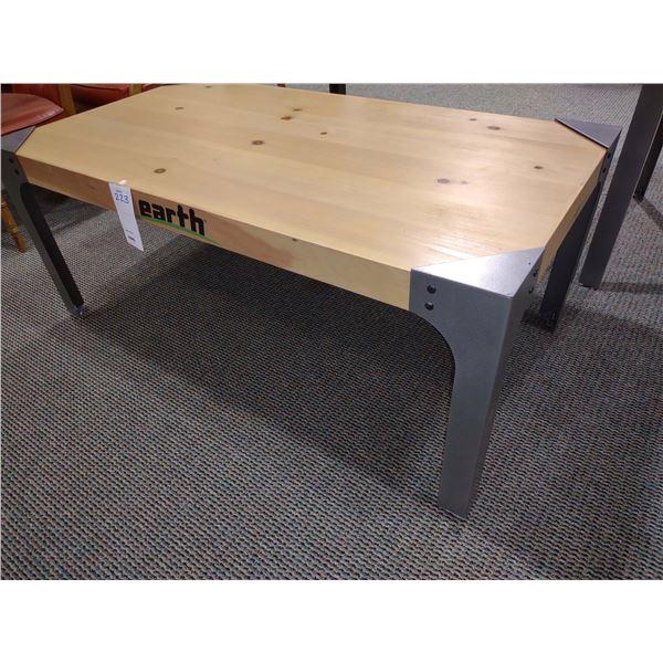 "EARTH WOOD TABLE, 55""L X 30""W X 22""H"
