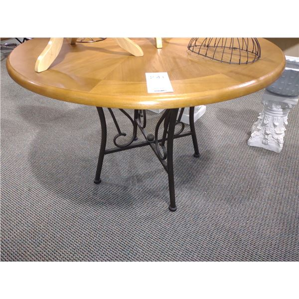 """ROUND TOP WOOD TABLE W/ METAL BASE, LIKE-NEW, 44.5"""" DIA. X 30.5"""" HIGH"""
