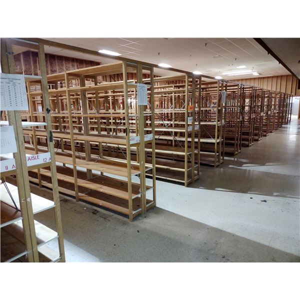 LARGE LOT OF LUNDIA WOOD SHELVING/ $61.20 NEW EACH