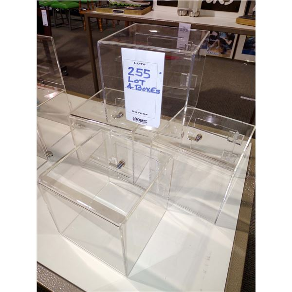 """LOT OF 4 ACRYLIC DISPLAY BOXES, 6.5""""H X 6.5""""W X 6.5""""D"""