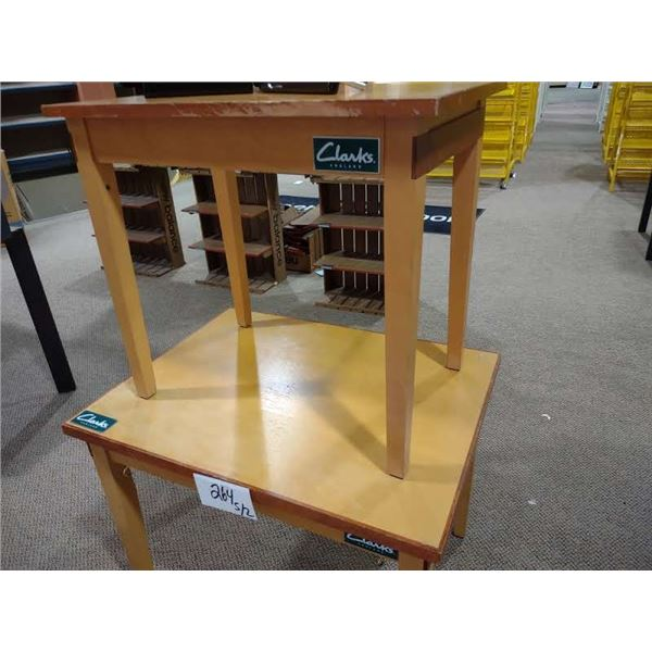 PAIR OF CLARKS WOOD TABLES