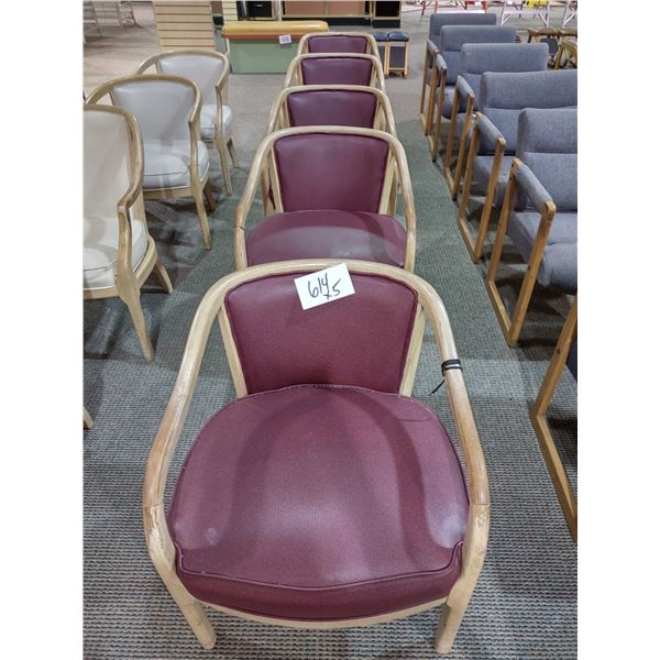 CUSHIONED BURGUNDY CHAIRS, GOOD CONDITION (X5)