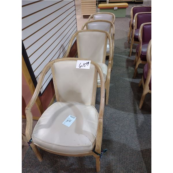CUSHIONED CHAIRS, CREAM COLORED, GOOD CONDITION (X4)