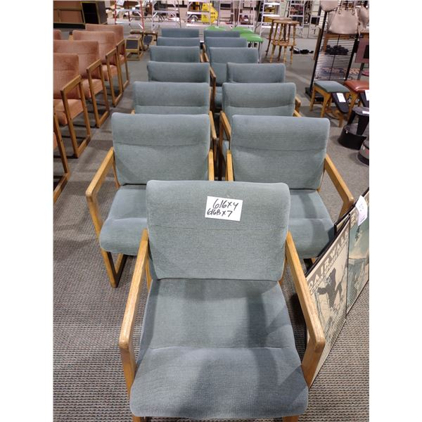 OAK FRAMED HUNTER GREEN CUSHIONED CHAIRS, GOOD CONDITION (X7)