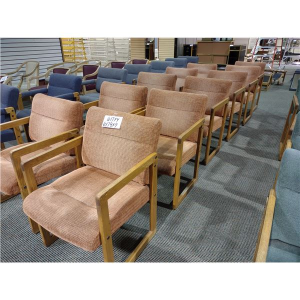 OAK FRAMED ORANGE CUSHIONED CHAIRS, GOOD CONDITION (X7)