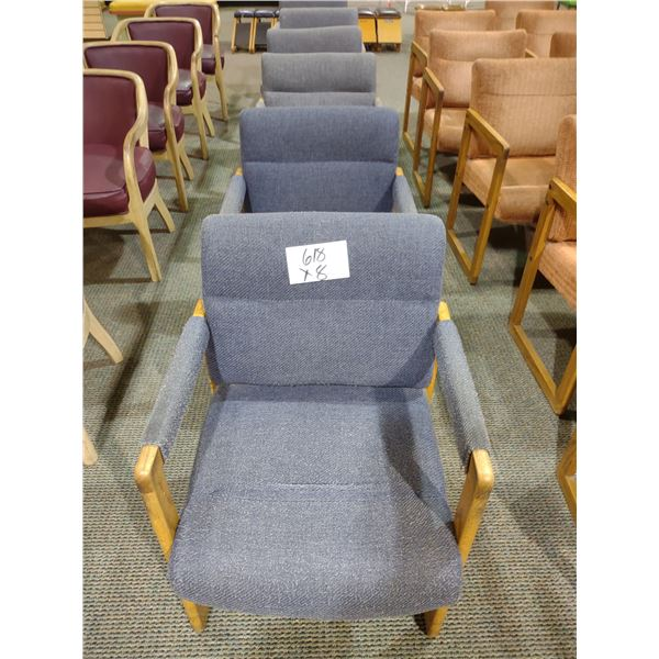 OAK FRAMED BLUE/GRAY CUSHIONED CHAIRS, SOME WEAR (X8)