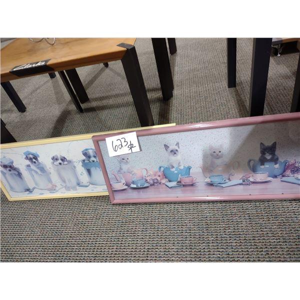 2 PC FRAMED PET KITTENS/PUPPIES PRINTS