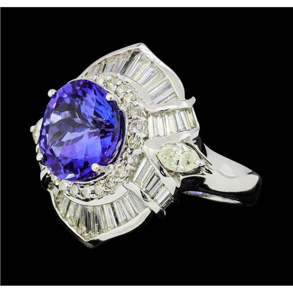 9.95 ctw Round Brilliant Tanzanite And Marquise Shaped Cut Diamond Ring - 18KT W