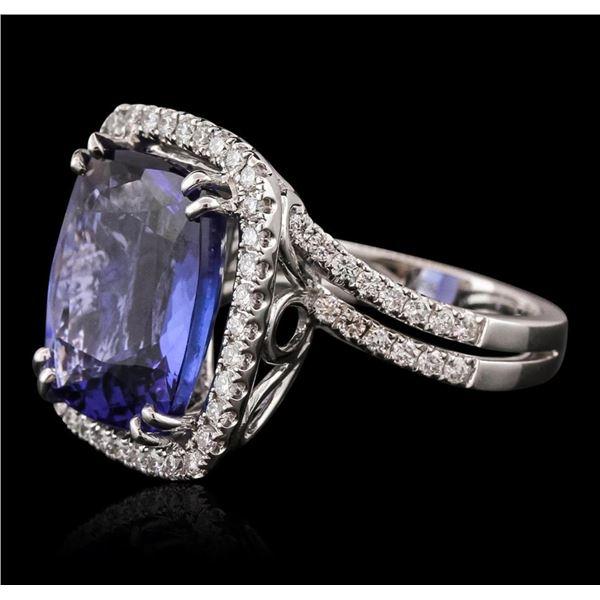 18KT White Gold GIA Certified 10.65 ctw Tanzanite and Diamond Ring