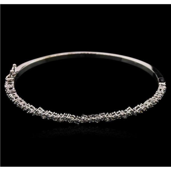1.00 ctw Diamond Bangle Bracelet - 14KT White Gold