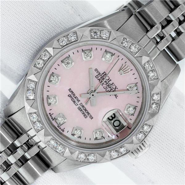 Rolex Ladies Stainless Steel Pink MOP Pyramid Diamond Datejust Wristwatch 26MM W