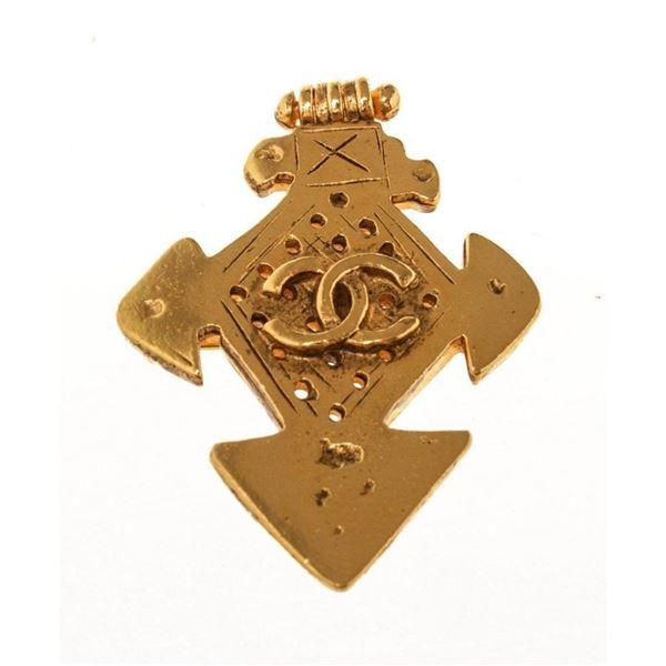 Chanel Gold CC Cross Brooch