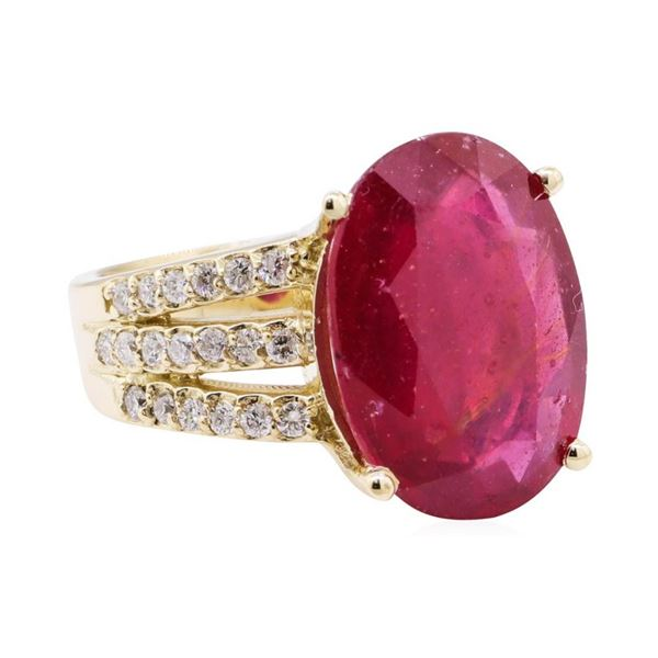 11.80 ctw Ruby And Diamond Ring - 14KT Yellow Gold