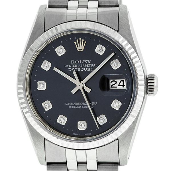 Rolex Mens Stainless Steel Black Diamond 36MM Oyster Perpetual Datejust Wristwat
