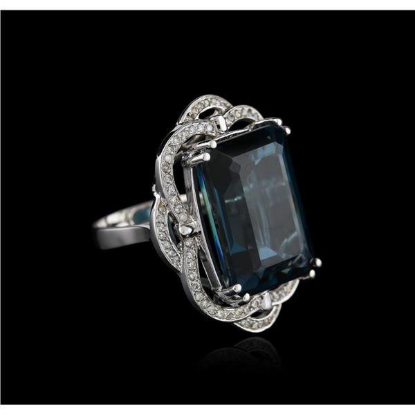 14KT White Gold 32.69 ctw Topaz and Diamond Ring