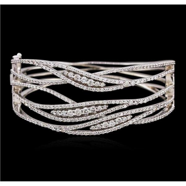 14KT White Gold 3.99 ctw Diamond Bangle Bracelet