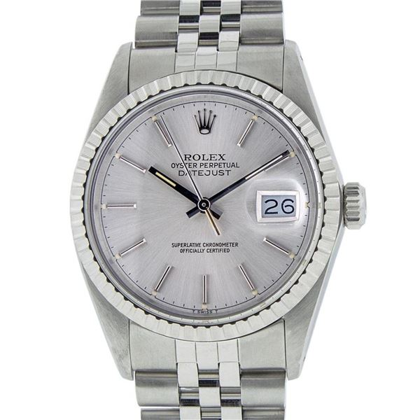 Rolex Mens Stainless Steel 36MM Silver Index 36MM Oyster Perpetual Datejust Wris