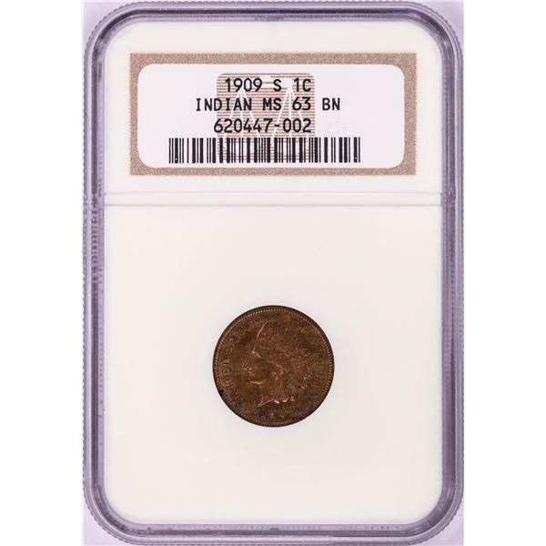 1909-S Indian Head Cent Coin NGC MS63BN