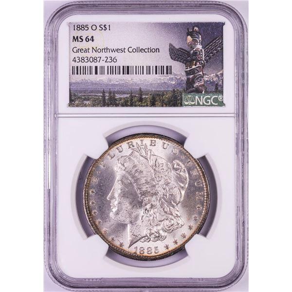 1885-O $1 Morgan Silver Dollar Coin NGC MS64 Nice Toning Cracked Slab