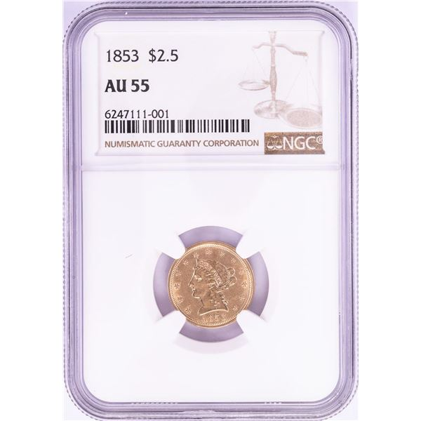 1853 $2 1/2 Liberty Head Quarter Eagle Gold Coin NGC AU55