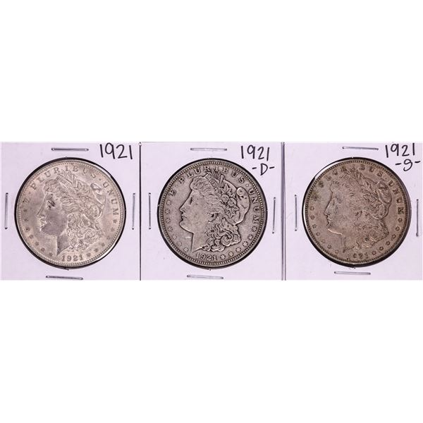 Lot of 1921-P/D/S $1 Morgan Silver Dollar Coins