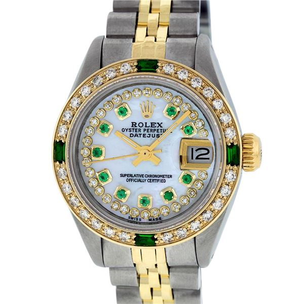 Rolex Ladies Two Tone MOP Diamond & Emerald Datejust Oyster Perpetual Wristwatch