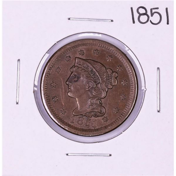 1851 Braided Hair Large Cent Coin
