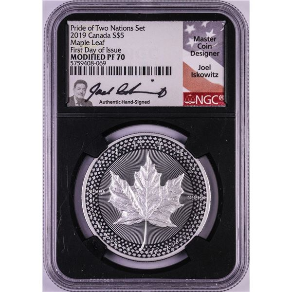 2019 Canada $5 Two Nations Silver Maple Leaf Coin NGC Modified PF70 Iskowitz Signature