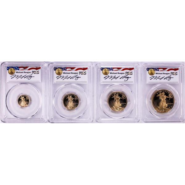 1988 Proof American Gold Eagle (4) Coin Set PCGS PR69DCAM Michael Reagan Signature