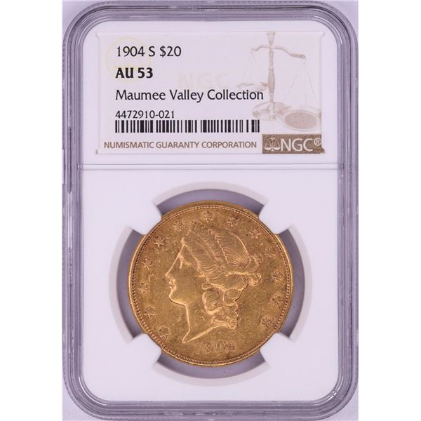 1904-S $20 Liberty Head Double Eagle Gold Coin NGC AU53