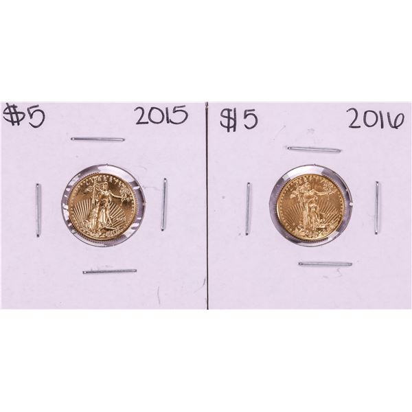 Lot of 2015-2016 $5 American Gold Eagle Coins