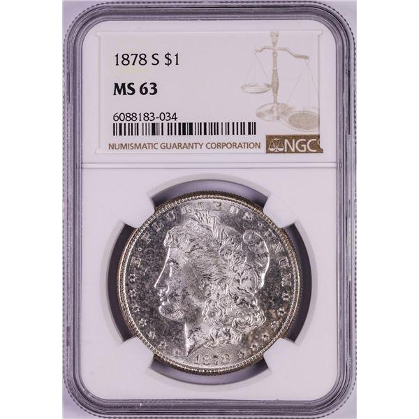 1878-S $1 Morgan Silver Dollar Coin NGC MS63 Nice Toning